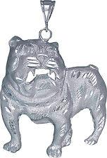 Sterling Silver Bulldog Pendant Necklace Diamond Cut Finish 3.35 Inch 33 Grams