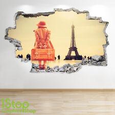 PARIS Pared Adhesivo 3D Look-Dormitorio Salón Torre Eiffel Ciudad de la etiqueta de la pared Z566
