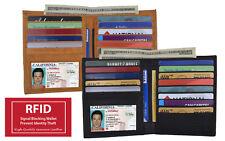 RFID Blocking Men's Cowhide Leather Hipster Bifold Wallet European Credit Card