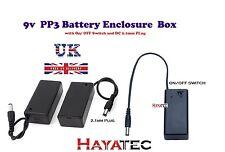 Proyecto de Clip de Batería 9V PP3 Caja Caja Sostenedor Interruptor de encendido/apagado con Enchufe DC Reino Unido