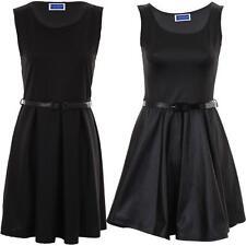 Women's Belted Sleeveless Shiny PVC Plain Ladies Skater Black Party Dress