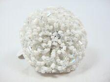 Fashion Large Flower shape Silver white beads design ring one size adjustable