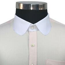 Peaky Blinder Men Round collar Pink oxford shirt Gents Penny collar Club Vintage