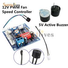 12V PWM Fan Temperature Speed Controller PC CPU Module High Temp Alarm 5V Buzzer