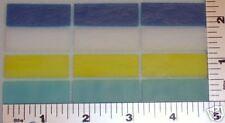 """Lot Of 12 Quad Color 1/2""""x 1 1/2"""" Bullseye Glass 90 Coe"""