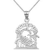 10k White Gold Zodiac Astrological Scorpio Scorpion Pendant Necklace