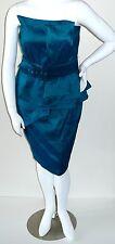 Fashionista Architectural Peplum Belted Dress Blue Teal Plus 1X 2X 4X - New!