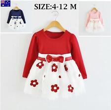 Girls Kids Long Sleeve Dress Size 4-9 Months & 10-12 Months