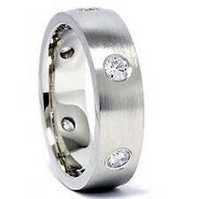 Mens 14K White Gold 3/4ct Diamond Wedding Ring Band New
