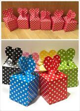 6 Kids Birthday Party Bag Boxes - Wedding Favour Cake Box / Polka Dot Heart -UK