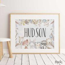 Baby, Boy Nursery Wall Art Prints Watercolour Woodland Animals. Nursery Decor
