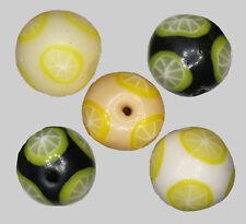 Handmade polymer clay round beads – Lemon Citrus slices