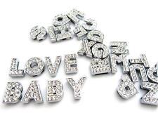 5 Alphabet ABC Letter Crystal Rhinestone Slider Charm/Bead/Bracelet K40-Word