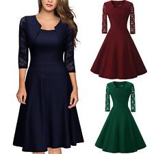elegante abito cerimonia da donna manica in pizzo a 3/4 vestito corto sera party
