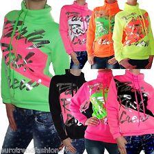 Damen Sweatshirt Sweater Pulli Pullover Desing Mädchen Sweatjacke S M L XL Neu