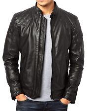 Men's Stylish Motorcycle Biker Genuine Lambskin Nappa Leather Jacket Mj 47