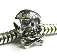 Sterling Silver Skull Skeleton Bone Cross Bead for European Charm Bracelets