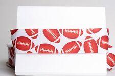 "FOOTBALL BROWN BALL WHITE 1.5"" Grosgrain Ribbon Various Yards SHIP FROM USA"