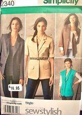 Simplicity 2340 Pattern Boyfriend Jackets UNCUT 6-8-10-12-14 OR 16-18-20-22-24