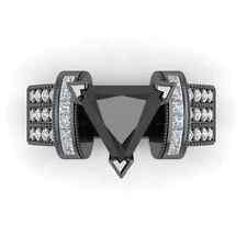 14kt Black Gold Filled Trillion Cut Black Sapphire Elegant Women Ring Size 6-10