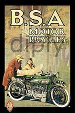 REPRO AFFICHE DECO MOTOR BICYCLES MOTO BSA SUR PAPIER 310 OU 190 GRS
