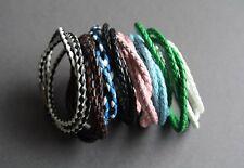 "NEW Leather Surfer Braided Necklace Choker Bracelet Wristband Hemp Unisex 23"""