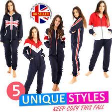 Ladies UK Flag All In One Fleece Jumpsuit Warm Winter Hoodied Women Playsuits