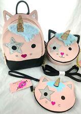 Luv Betsey Johnson Unicorn Kitty Cat Mini Backpack Set Wristlet Crossbody Kitsch