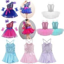 Girls Kids Ballet Jazz Leotard Tutu Skirt Sequins Dress Party Dancewear Costume