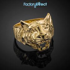 10k 14k Gold Diamond Cut Tiger Unisex Men Women Ring