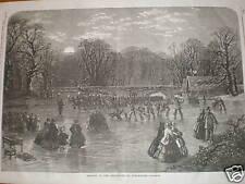 Skating by torchlight on Serpentine London 1859 print