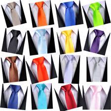 Mens Wedding Slim Tie Skinny Thin Solid Color Narrow Plain Satin Party Necktie