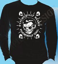 Psychobilly corazón Camiseta Para Hombre Manga Larga ROCKABILLY GÓTICO Biker Rock & Roll Años 50