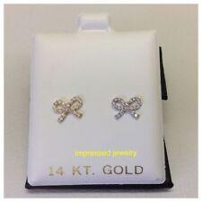 14k-Yellow-or-White-Gold-Bow-Stud-CZ Earrings--Baby/Children-Safe-Screwbacks