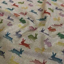 Rainbow Rabbits Digital Print Cotton Rich Linen Fabric Curtaining Upholstery