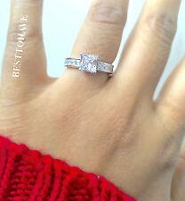 Ladies 925 Sterling Silver Princess Cut Wedding Engagement Ring