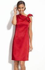 Taylor Dresses Stretch Satin Bow Strap Dress Red  ( Size 4 )