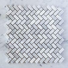 Carrara Marble Herringbone Small Mosaic Tiles (Sample)