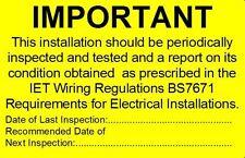 Periodico impianto elettrico test ADESIVI bs7671 2015-non i dettagli di contatto
