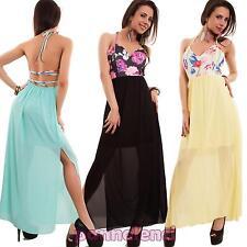 Vestito donna abito lungo spacchi velato scollo V fiori incrocio nuovo CL-1536