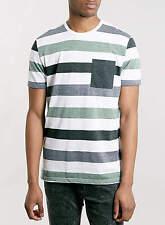 TOPMAN Mens Green And White Striped Short Sleeve Pocket T-Shirt - XS XL BNWT