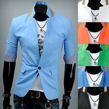 Mens Luxury Linen Half Sleeve Summer Light Blazer Jacket Jumper Outwear Top W002