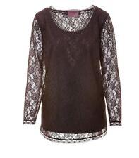 Sempre Piu Damen Langarmshirt Shirt mit Spitze Schwarz Übergröße 46 48 50 52 54