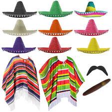 MEXICAN FANCY DRESS COSTUME PONCHO SOMBRERO WILD WESTERN BANDIT MENS FANCY DRESS