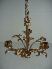 Lampadario con catena sospensione color bronzo a 3 luci
