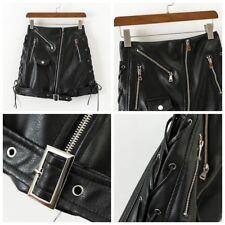 Lady PU Leather Skirt Gothic Punk Dance Clubwear Short High Waist Bodycon Black