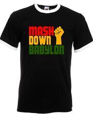 MASH DOWN BABYLON RINGER T-SHIRT  (FOL Branded 1Reggae Dub Roots Jah Rasta)