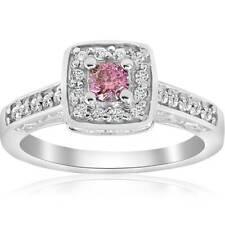 3/8ct Pink Diamond Cushion Halo Vintage Engagement Ring 14K White Gold