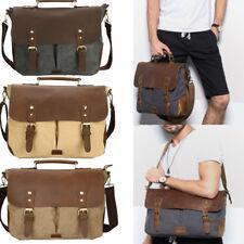 """Mens Leather Canvas 14"""" Laptop Messenger Shoulder Sling Crossbody Bag Satchel US"""