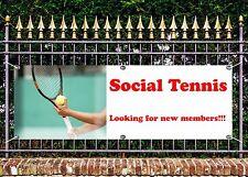 OUTDOOR PVC TENNIS CLUB NEW MEMBERS BANNER SIGN ADVERT FREE ART WORK READY